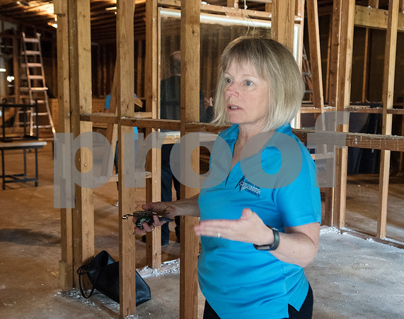 Hawkins Chamber of Commerce President Debbie Crawford talks about the future plans for this building in Hawkins that will be repurposed into The Small Stack General Store which will also feature business offices for the Chamber of Commerce and small business innovators.   (Sarah A. Miller/Tyler Morning Telegraph)