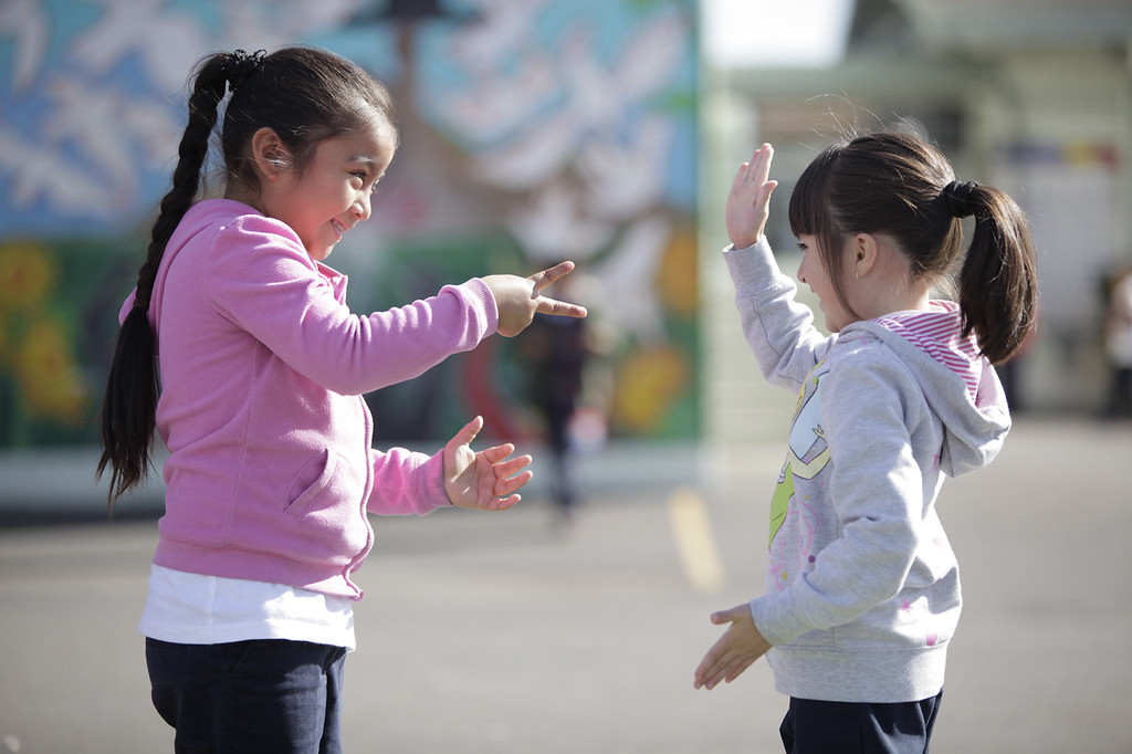 November 7, 2012 - Children play during recess in Oakland, California. At the elementary school, Playworks coaches and junior coaches play organized games with students to teach them rules of playing games and social skills. <br /> <br /> Playworks is a national nonprofit organization that transforms schools by providing play and physical activity at recess and throughout the school day. Through its on-site direct service and trainer-led professional development workshops, Playworks restores valuable teaching time, reduces bullying, increases physical activity and improves the school and learning environment. <br /> <br /> Playworks' mission is to improve the health and well-baeing of children by increasing opportunities for physical activity and safe, meaningful play. <br /> <br /> Jill Vialet, the CEO and founder of Playworks, is a recipient of the 2013 James Irvine Foundation Leadership Award.
