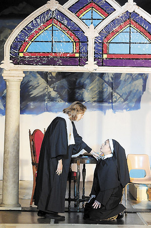 Tiffany Wolfe/NEWS<br /> The Mother Abbess played by Hannah Sloboda speaks with Maria played by junior Britney Yauger in Portersville Christian School's production of 'The Sound of Music.'