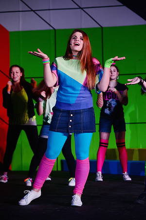 Tiffany Houston played by 9th grader Alexis Konar in Portersville Christian School's musical Back to the 80's.