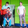 From left top to bottom, Billy Arnold played by 12th grader Andrew Sloboda writes a love note using the backs of Huey Jackson center played by 9th grader Elijah White and Lionel Astley played by 12th grader Sam Flecker for their friend Michael Feldman played by 10th grader Seth Kennedy.