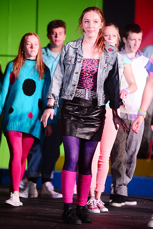 Cyndi Gibson played by 9th grader Tealey Ingram performs in 'Man in the Mirror' as part of Portersville Christian School's musical Back to the 80's.
