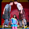 From left Corey Palmer played by 9th grader Caleb Yauger and Michael Feldman played by 10th grader Seth Kennedy battle for the affection of Tiffany Houston played by 9th grader Alexis Konar.