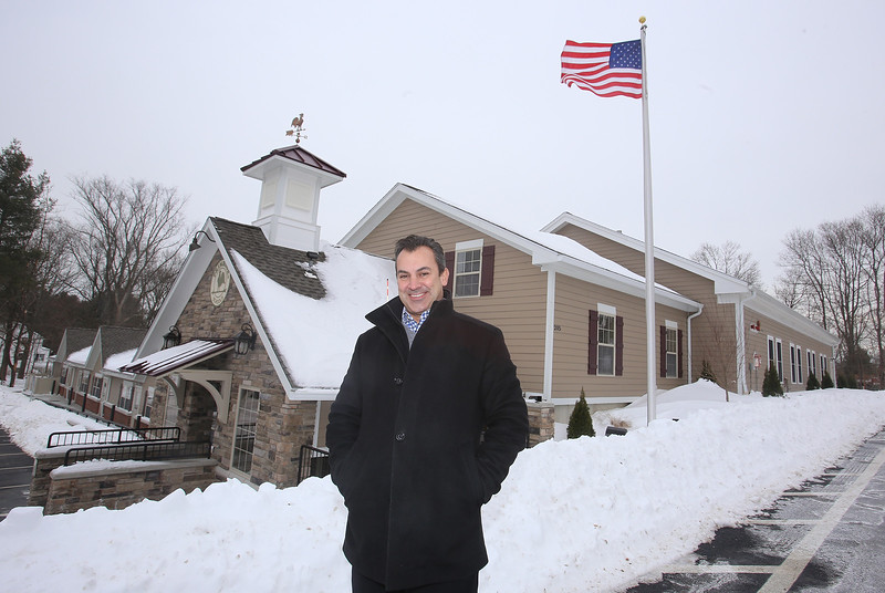 Rob Parsons at the recently opened Primrose School on North Road in Chelmsford, which has infant day care through kindergarten. (This is same angle we shot from when it was under construction.) (SUN/Julia Malakie)