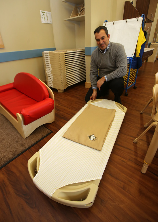 . Rob Parsons gives a tour of the recently opened Primrose School on North Road in Chelmsford, which has infant day care through kindergarten.  These are the cots they use for nap time. (SUN/Julia Malakie)