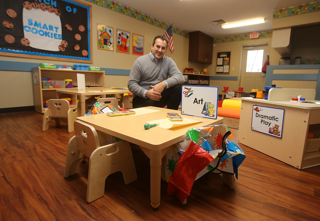 . Rob Parsons gives a tour of the recently Primrose School on North Road in Chelmsford, which has infant day care through kindergarten. This is a Toddler classroom, with the smallest size chairs. The furniture is made by the Amish. (SUN/Julia Malakie)