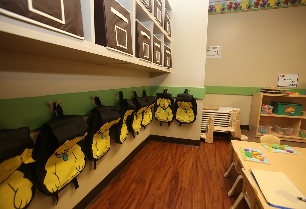 . Recently Primrose School on North Road in Chelmsford, which has infant day care through kindergarten. This is an Early Pre-School room. Each age group has different backpacks (without names on them, for safety). The names will go over the hooks. (SUN/Julia Malakie)