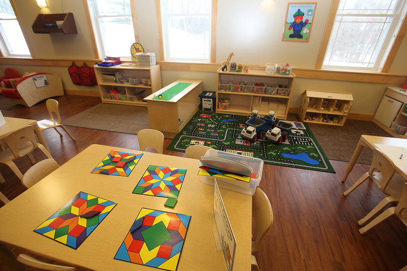 Rob Parsons gives a tour of the recently opened Primrose School on North Road in Chelmsford, which has infant day care through kindergarten.  This is one of two Pre-K classrooms, which are in what used to be the church. (SUN/Julia Malakie)