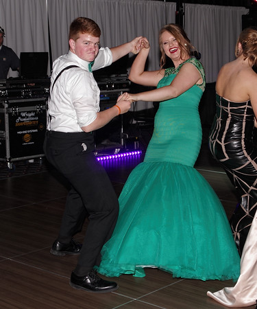 Noah Dockrey and Hannah Blalock show off their dance moves at the Madison-Grant High School Prom.