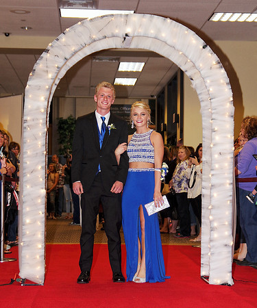 Beau Clouser and Kanani Price on the red carpet prior to the Madison-Grant Prom at the Horizon Centre on Saturday night.