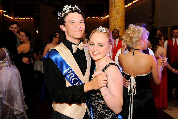 Don Knight | The Herald Bulletin<br /> Phoenix King and Stormie Wattenbarger were crowned King and Queen during APA's prom at The Anderson Center for the Arts on Saturday.