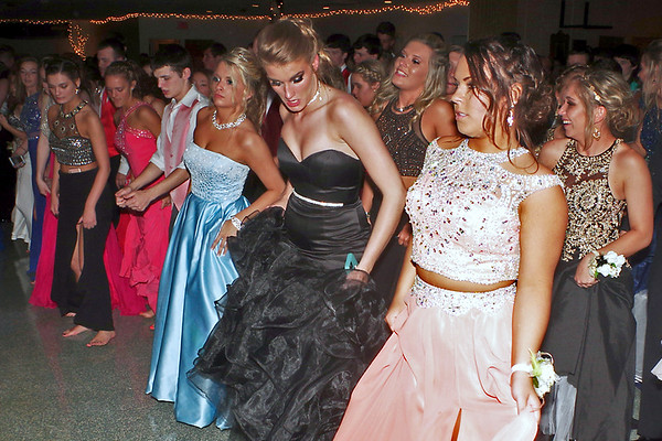 Elwood High School Prom attendees dance the night away.