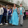 Bailey Blackford and Brayton Thomas arrive at the Elwood High School Prom on Saturday evening.