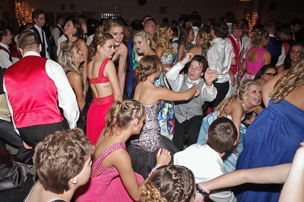 Elwood High School Prom goers crowd the dance floor.
