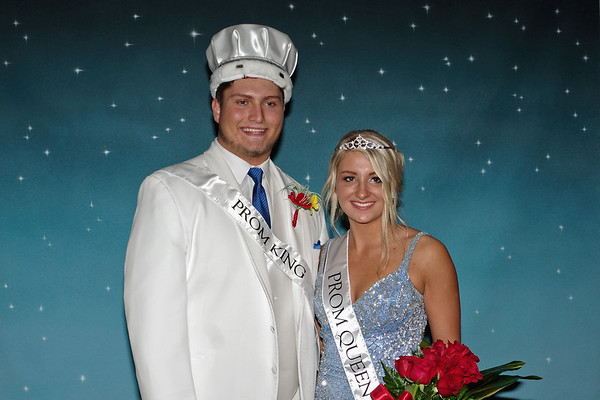 """Dakota Borders and Taylor Jones were crowned King and Queen of Elwood High School's """"Enchanted Forest"""" themed prom."""