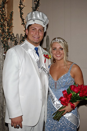 """King Dakota Borders and Queen Taylor Jones reign over the """"Enchanted Forest"""" at Elwood High School's Prom."""