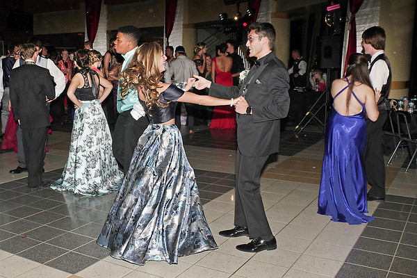 Mark Maynard   for The Herald Bulletin<br /> A couple enjoys a turn around the dance floor at the Lapel High School Prom.