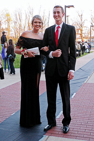 Mark Maynard | for The Herald Bulletin<br /> Breanna Boles and Joseph Conrad arrive at the Lapel High School prom on Saturday evening.