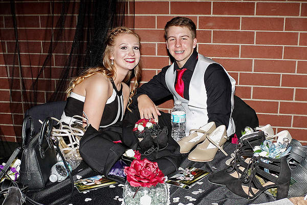 "Mark Maynard | for The Herald Bulletin<br /> Nora Hopkins and Mason Gilley take a break during Lapel's ""Phantom of the Opera"" prom."