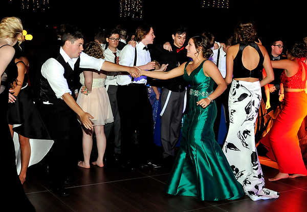 """John P. Cleary   The Herald Bulletin<br /> 2017  Madison-Grant High School Prom goers dance to the music at the Horizon Center in Muncie Saturday night. This years prom theme was """"Roaring Twenties."""""""