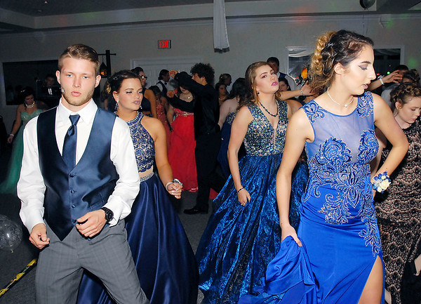 David Humphrey | for The Herald Bulletin<br /> Shenandoah High School celebrated their 2017 prom at the Officer's Club in Anderson Saturday evening April 15th. Prom goers take to the dance floor.