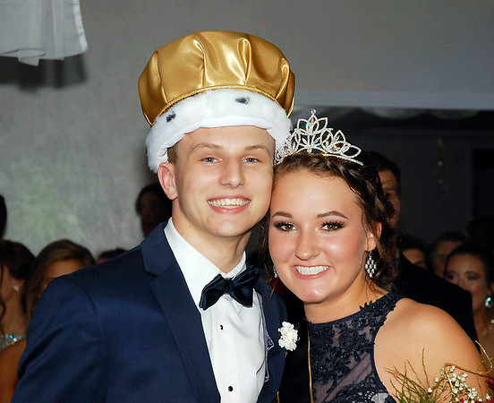 David Humphrey | for The Herald Bulletin<br /> Shenandoah High School celebrated their 2017 prom at the Officer's Club in Anderson Saturday evening April 15th. Ryan Surguy and Molly Hensley were crowned King and Queen at the Shenandoah Prom. The theme of this year's prom was 50 Years of Golden Nights.