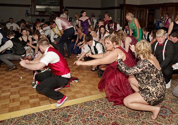 "Shenandoah High School Prom-goers get low doing the ""Cha-Cha Slide."" (Mark Maynard photo)"