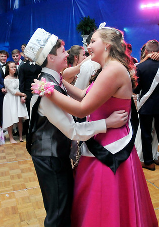 Lapel High School 2018 Prom.<br /> Newly crowned King and Queen, Harrison Hadley and Kristen Hobbs, take their royal dance at the Lapel High School Prom Saturday evening.
