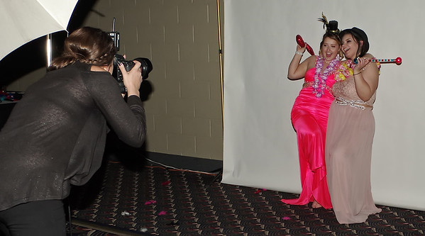 Mark Maynard   for The Herald Bulletin<br /> At the Madison-Grant High School Prom, Savannah Nolford and Haleigh Montgomery pose with props for a fun picture.