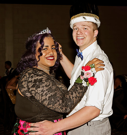 """Mark Maynard   for The Herald Bulletin<br /> Latia Walker and Conner Royal share a dance after being crowned Queen and King of """"The Enchanted Forest"""" prom."""