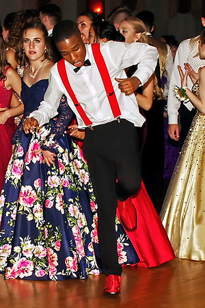Troy King II shows off some moves on the Paramount Theatre Ballroom dance floor during the Lapel High School Prom. (Mark Maynard photo)