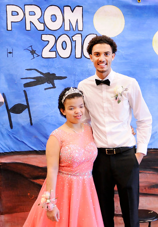 Don Knight | The Herald Bulletin<br /> Destiny McLemore poses for a photo with her prom date Grant Kelley during Anderson High School's special needs prom on Thursday.