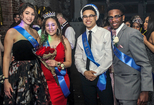 Photo by Chris Martin for The Herald Bulletin.<br /> APA Prom 2018 Princess Olivia Alderman, Queen Donica Scott, King Jalen Lark and Prince Omi McClendon