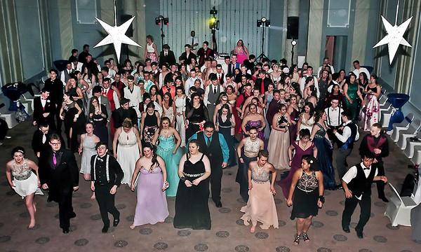 Mark Maynard   for The Herald Bulletin<br /> Alexandria-Monroe High School prom goers crowd the dance floor of the Opera House in Elwood on Saturday night.