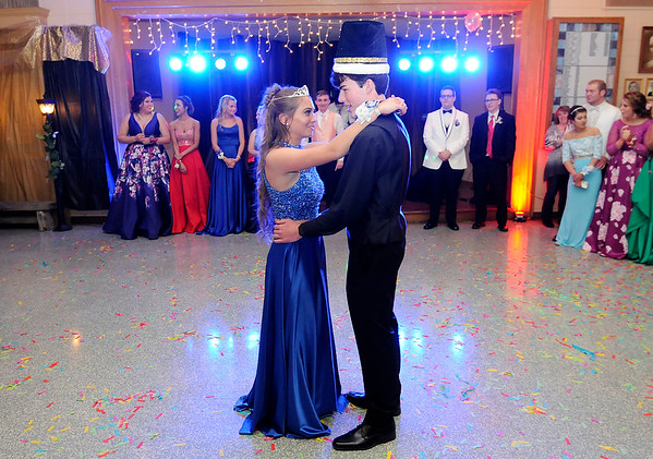 Don Knight | The Herald Bulletin<br /> Brookelyn Creamer and Glen Stewart dance after being crowned queen and king during Elwood's prom at the Elks on Saturday.