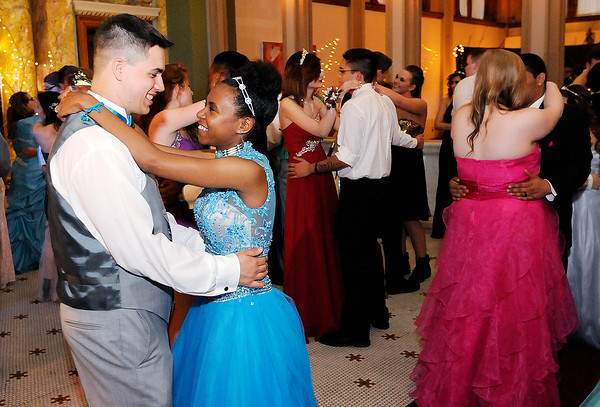 Don Knight | The Herald Bulletin<br /> Ethan Seybert and Marissa Young dance as APA held their prom Saturday at The Anderson Center for The Arts. The prom had a fairy tale theme.