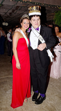 """Mark Maynard   for The Herald Bulletin<br /> Queen Morgan McCormick and King Brantly McCorkle reign over Elwood High School's """"The Night is Ours"""" themed prom."""