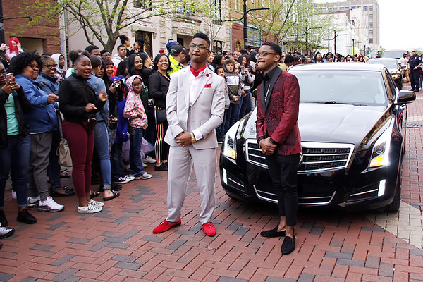 Jourdan White and Donte King arrive for the Anderson High School Prom on Saturday evening. (Mark Maynard photo)