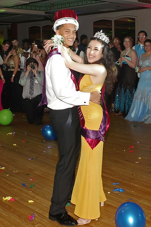 Mark Maynard   for The Herald Bulletin<br /> Anderson High School Prom King Noah Taylor and Queen Michelle Durran dance after their coronation.