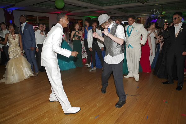 Mark Maynard   for The Herald Bulletin<br /> Austin Morgan and Todd Fritz square-up for a dance-off during the Anderson High School Prom.