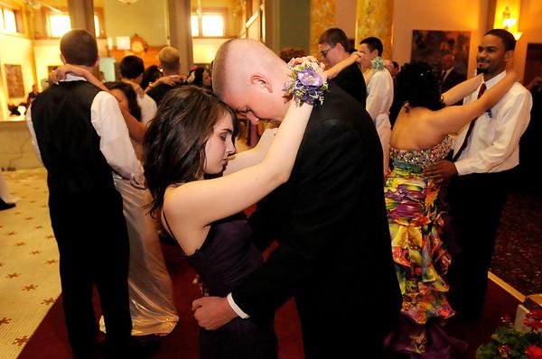 Jessy Hunt and Austin Burden dance a slow dance.