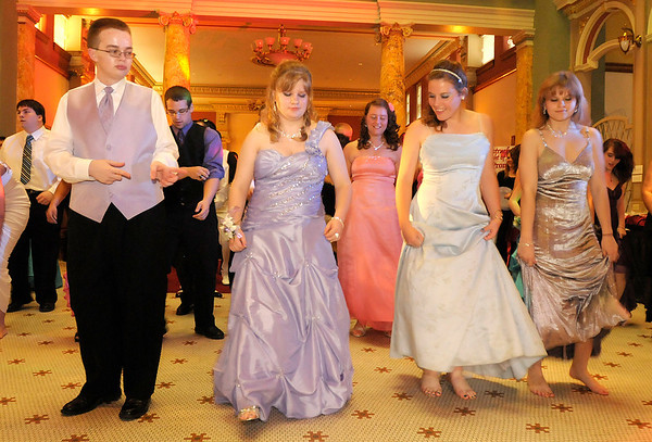 From left, Caleb Riggins, Lacie Barnett, Turner Madewell and Shay Vaughn join in a line dance.