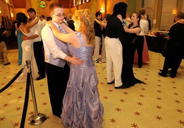 Caleb Riggins and Lacie Barnett dance a slow dance.
