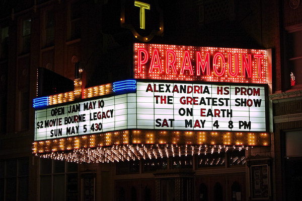 """The Paramount Thearter marquee announces the Alexandria High School """"Greatest Show on Earth"""" prom."""