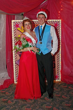 """Shanna Kelly and Landon Breese reign as the Queen and King of the Alexandria High School """"Greatest Show on Earth"""" prom."""