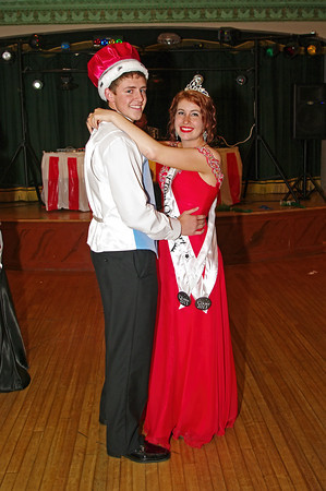 """Landon Breese and Shanna Kelly share a dance after being crowned King and Queen of the Alexandria High School """"Greatest Show on Earth"""" prom."""