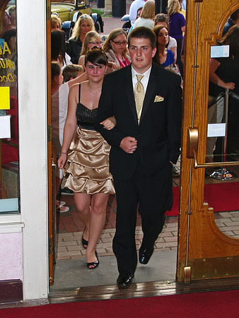 Harley Medley and Colin Hartman entering the Paramount Theater for a Roaring Twenties evening at the Candlelight Club.