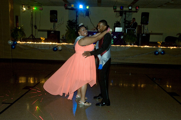 Tony Gillespie and Malquesha Murphy Hopkins have their first dance as Prom King and Queen of the Anderson Preparatory Academy Prom held Saturday May 4 at the MillCreek Center in Chesterfield. Photo by Richard Sitler