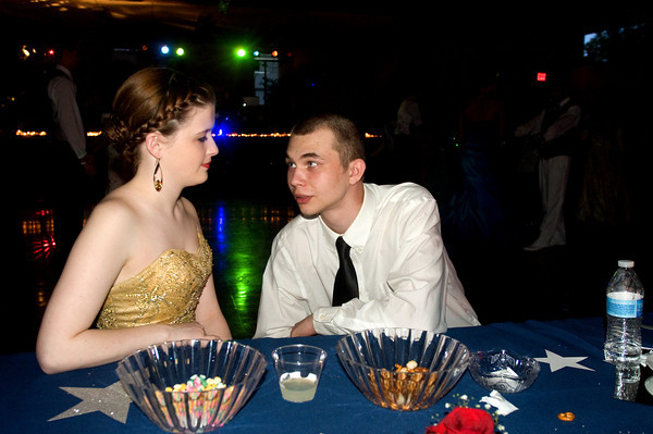 Sarah Thompson and Dylan Wable, both seniors, share a moment at the Anderson Preparatory Academy Prom held Saturday May 4 at the MillCreek Civic Center in Chesterfield. Photo by Richard Sitler