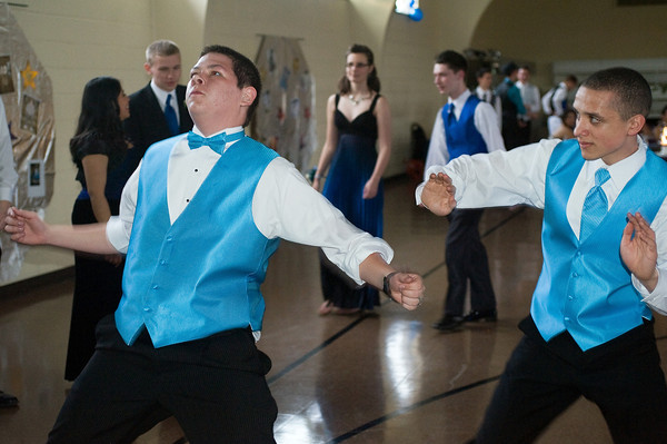 Kyler Cleckley, a sophomore, and Jacob Kovacs, a junior, get down on the dance floor. The Anderson Preparatory Academy Prom was held Saturday May 4 at the MillCreek Civic Center in Chesterfield. Photo by Richard Sitler